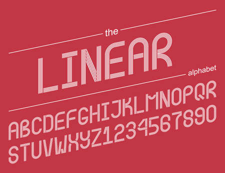 Linear alphabet. Set of 36 elements 26 letters and 10 numbers