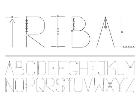 Vector modern abstract tribal font and alphabet for your design
