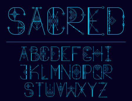 Vector modern abstract sacred font and alphabet for your design