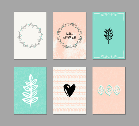Set of 6 creative greeting cards. Hand-drawn inky patterns. Vettoriali