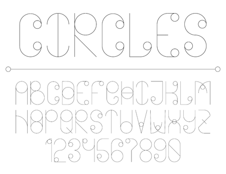 Modern line alphabet with circles. Hipster abstract vector font. Vettoriali