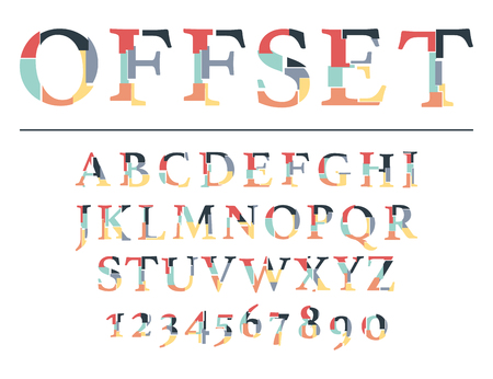Modern line alphabet. Hipster abstract vector font. Vettoriali