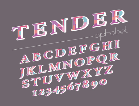Modern abstract alphabet. Hipster vector font and alphabet. Vettoriali