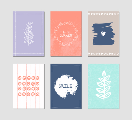 Set of 6 creative greeting cards. Hand-drawn inky patterns. Archivio Fotografico