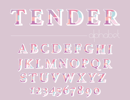 Modern abstract alphabet. Hipster vector font and alphabet. Archivio Fotografico