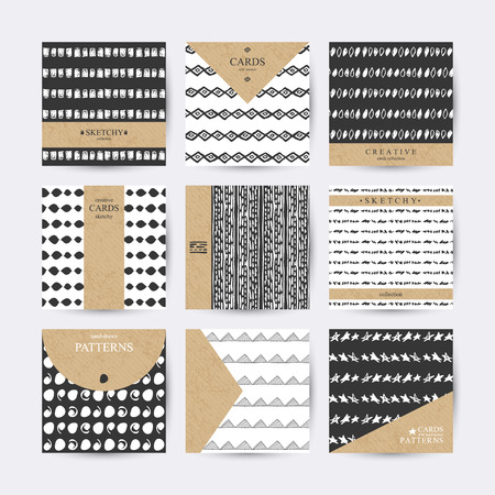 Set of 6 creative cards with hand-drawn patterns and place for your text.