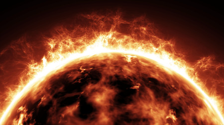 Realistic Sun surface with heat solar waves and flames.