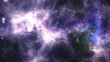 Space flight through the nebula. Space background with purple nebula, many stars. Archivio Fotografico - 119271140