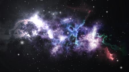 Space flight through the nebula. Space background with purple nebula, many stars. Zdjęcie Seryjne