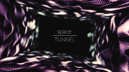 Abstract background with copy space for your text. Colorful tunnel of particles.