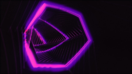 Abstract light tunnel. Retro disco lights. Neon background. Archivio Fotografico