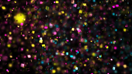 Thousands of confetti fired on air during a festival at night. Image ideal for backgrounds and overlays.