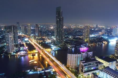 chao: Urban City Skyline, Chao Phraya River, Bangkok, Thailand