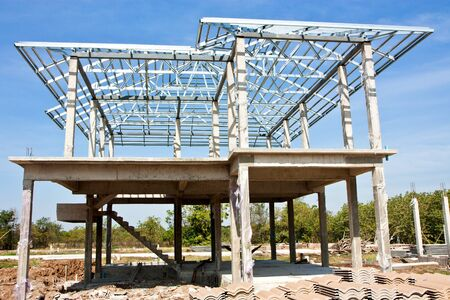 New home construction with steel roof structure Editorial
