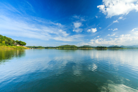 Bue sky and reflection at Srinakarin dam , Srisawat District Kanchanaburi, Thailand