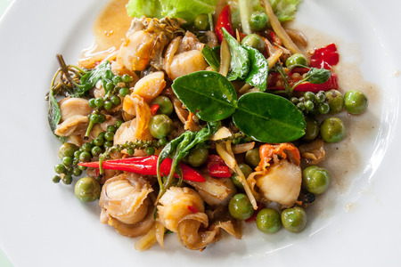 Thai Shellfish Fried (Pad hoy fan kratay) It is a difficult food of Sri Chak Chonburi, Thailand.