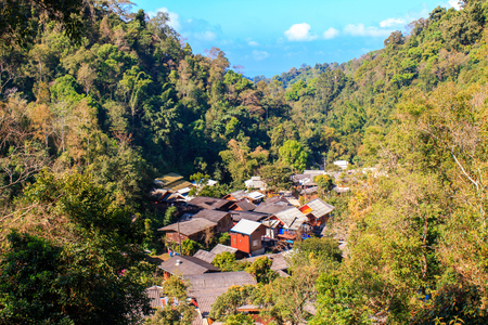 Top view village in mountains at Mae Kampong Village Chiangmai Province Thailand.