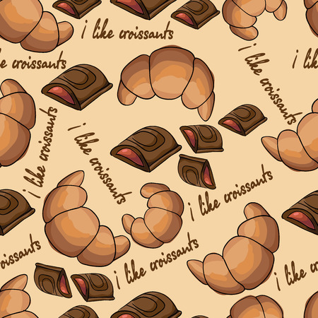 croissants: pattern with croissants and chocolate.  Illustration