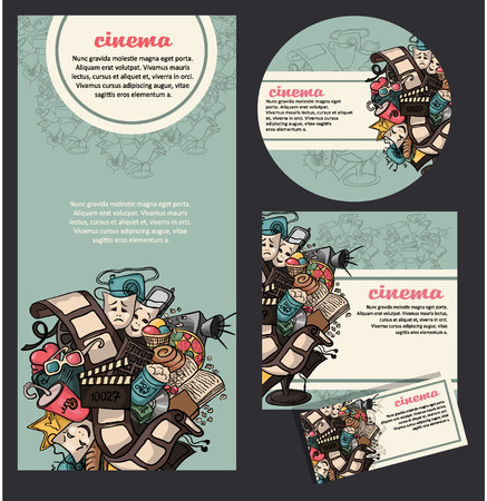 cinema ticket: Set of movie cinema banners.
