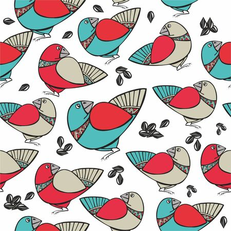 christmas frog: pattern with birds and seeds