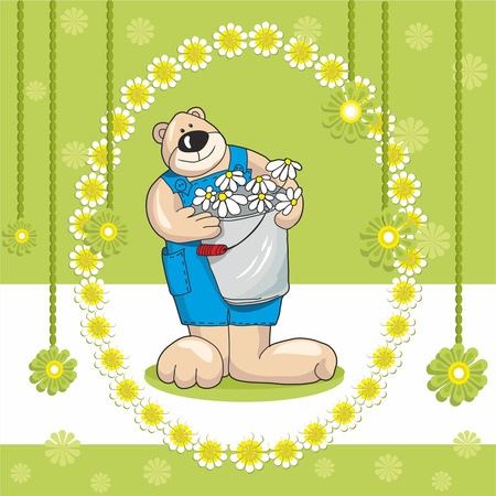 baby bear card and flowers on a green background Vector