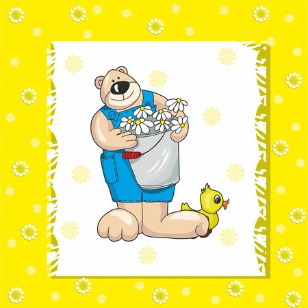 baby bear: baby card with teddy bear on a yellow background Illustration