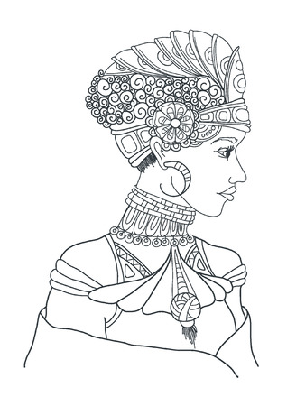snow queen: artwork of fantasy Snow Queen portrait. Winter, fantasy, spirituality, occultism, tattoo art, coloring books. Isolated illustration.