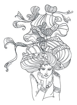 Jolie fille élégante avec une couronne. Coloriage page de livre pour adultes. oeuvre. portrait étonnant. Love concept bohême pour invitation de mariage, carte, billet, image de marque, boutique, étiquette