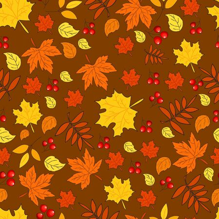 leafage: Pattern with autumn leaves on  brown background. Seamless autumn pattern.