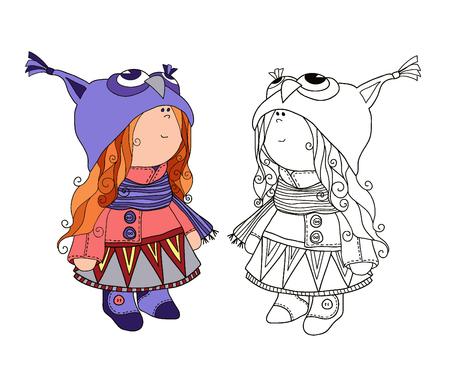 gir: Little girl. Coloring for girls.Sweet girl in owl costume.