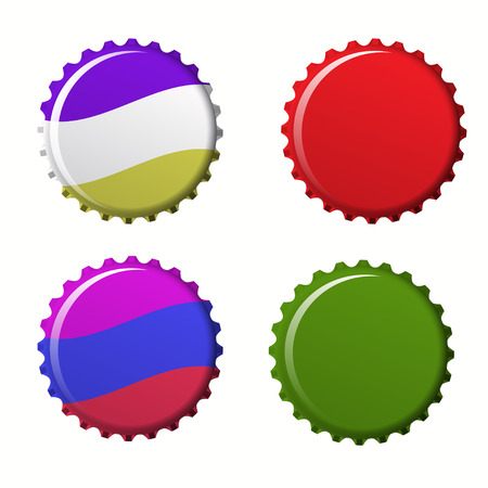 Isolated set of colorful bottle caps. Cover of juice on  white background vector