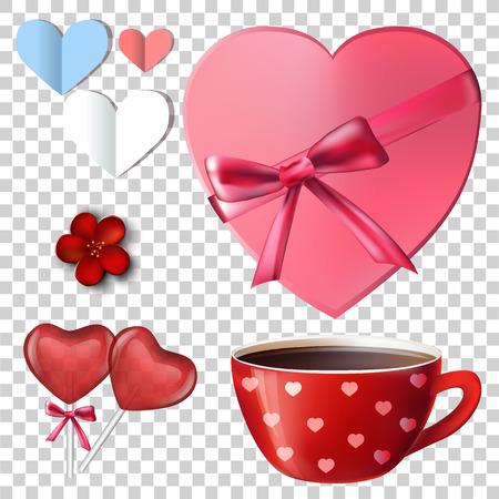 Set for Valentine. lollipop heart. Valentine day. Red heart. vector