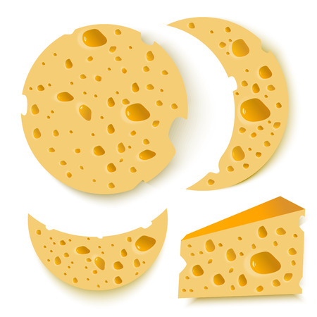 chunk: cheese pieces set on white background. food. vector illustration Illustration
