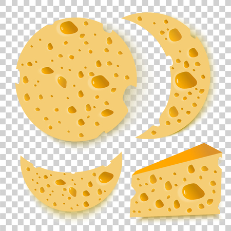 set of cheese on transparent background. vector