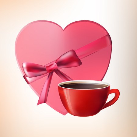 good s: Cup and box of chocolates. Valentine day. vector Illustration