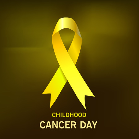 Childhood Cancer Day. Yellow Ribbon on dark background. Vector
