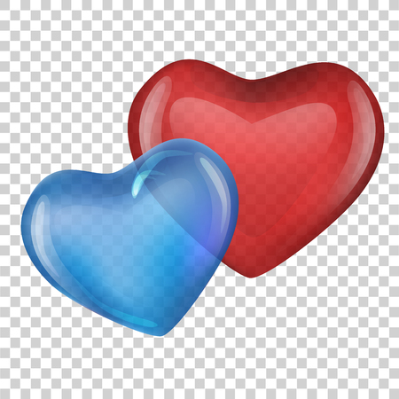 blue and red heart. Valentine day. vector