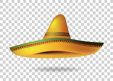 Mexican Sombrero Hat transparent background. Mexico. Vector illustration Vettoriali