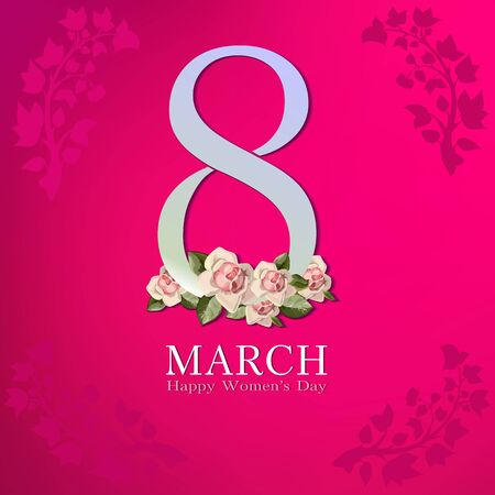 March 8 greeting card. Background template for International Womans Day. Vector illustration 版權商用圖片