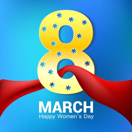 8 March greeting card template. International Womens day background or brochure on blue with red ribbon.vector 版權商用圖片