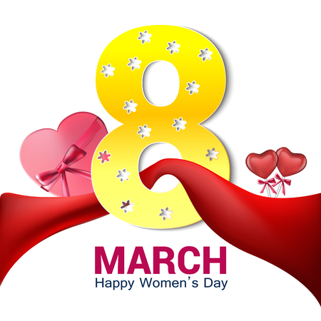 International Womens day background or brochure on white with red ribbon.vector 版權商用圖片
