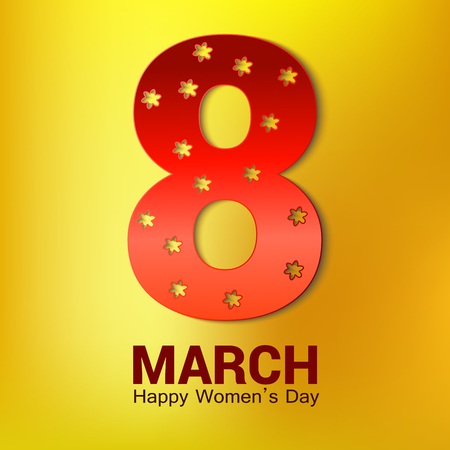 8 March greeting card template isolated on yellow.vector 版權商用圖片