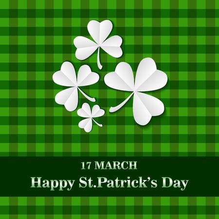 Saint Patricks day card.green Card with clover. vector illustration