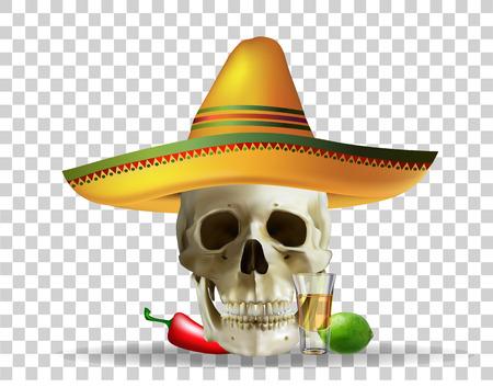 Skull in sombrero, Mexican holiday realistic vector.