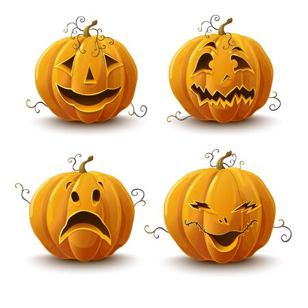 set of pumpkins for the holiday of Halloween. Vector 向量圖像