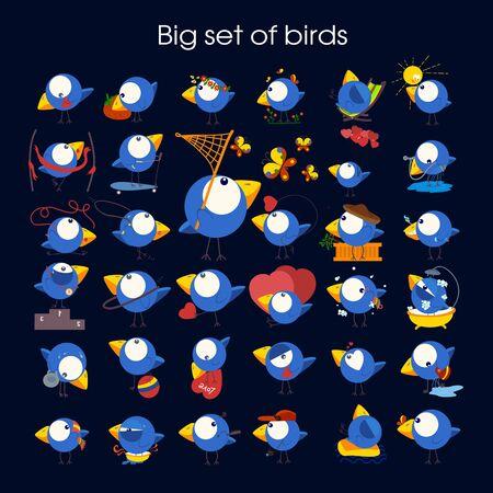 Cute birds in vector. Cartoon set. Vector