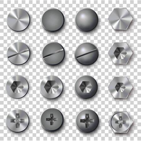 Set of screws and bolts on transparent background. Vector illustration