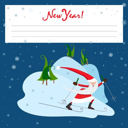New Year picture with Santa. Place for text. Vector illustration