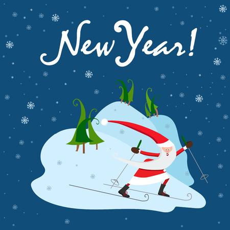Blue New Year card. Santa Claus is  skier. Vector illustration
