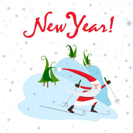 Santa Claus on skis. Winter sport  vector illustration. 向量圖像